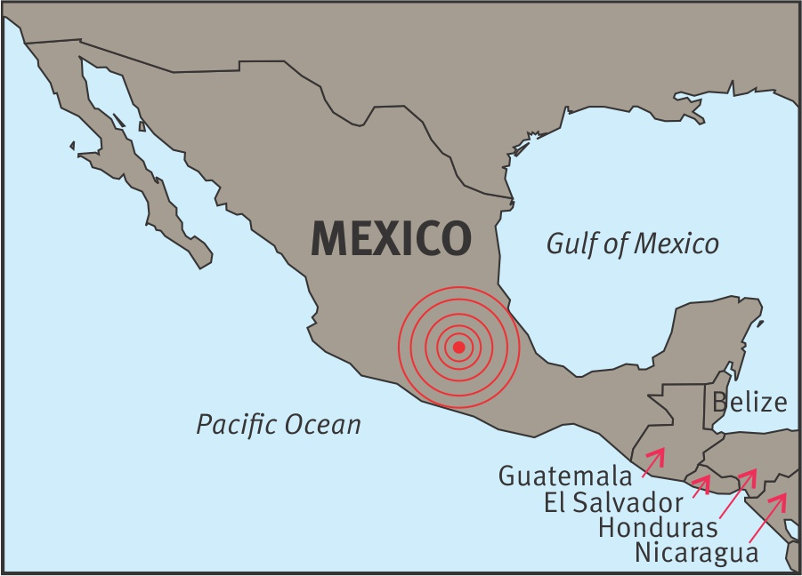 Mexico earthquake map 2017