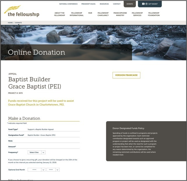 new site donation page